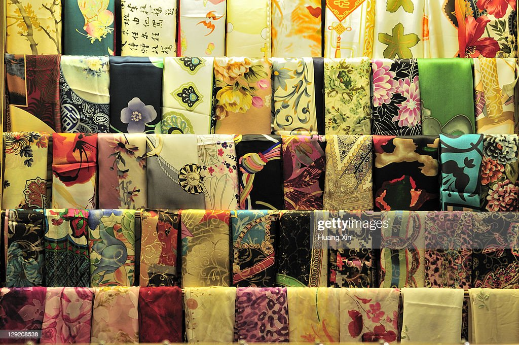 Colorful Chinese women's silk scarves : Stock Photo