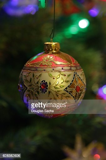 Colorful Christmas bauble hanging from the tree