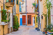 View of colorful houses in Palma de Mallorca city, Spain Balearic islands
