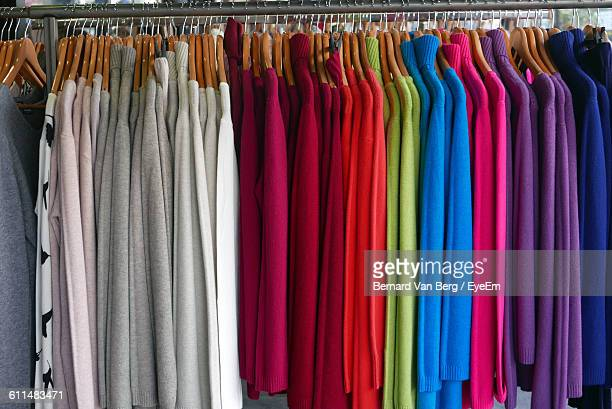 Colorful Cloths Hanging On Coathangers