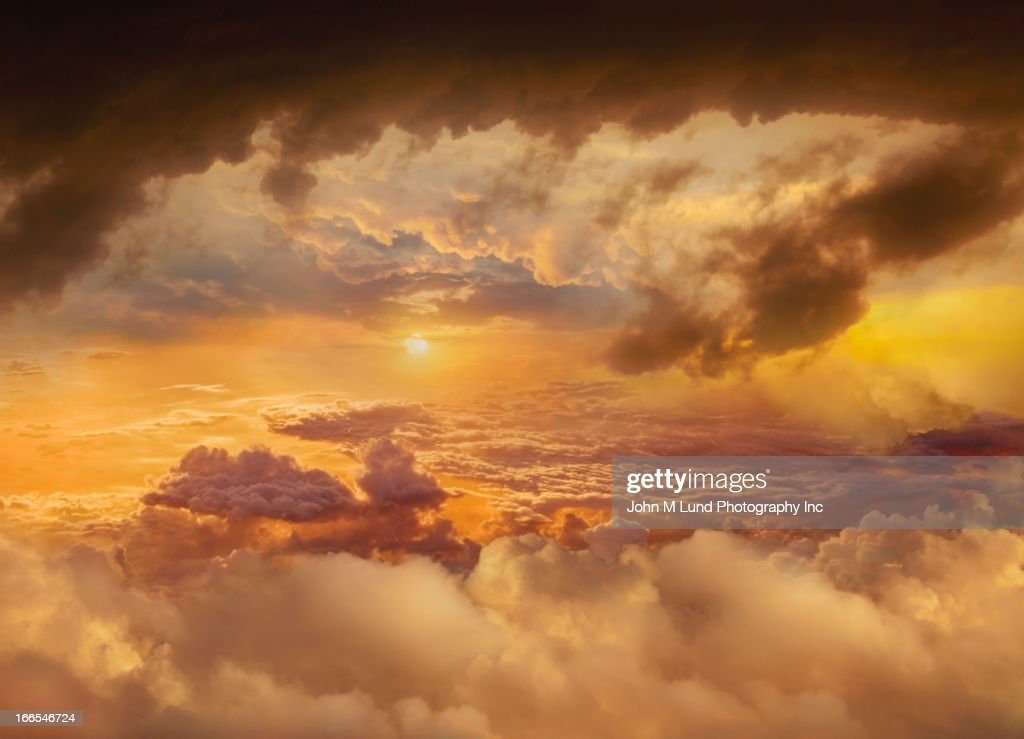 Colorful clouds in dramatic sky