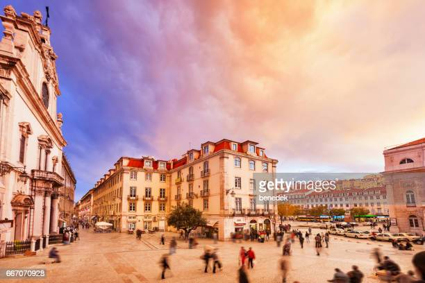 Colorful Clouds over Downtown Lisbon Portugal