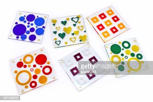 Bunte coasters für Glas : Stock-Foto