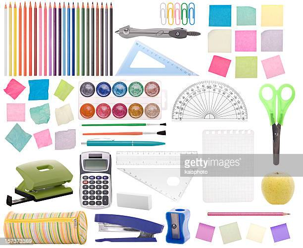 Colorful collection of school supplies