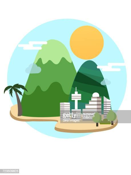 Colorful comic design of city and mountains on tropical island, China