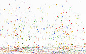 Colourful confetti falling on white background. With Clipping path.