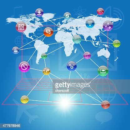 World Map Connected.Colorful Connected Icons With World Map Stock Photo Thinkstock