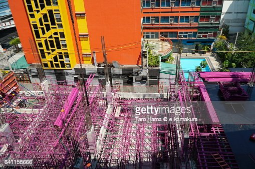 Colorful constructing building in Bangkok : ストックフォト