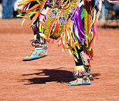 Native American dancers in traditonal rigalia perform during a Pow Wow.