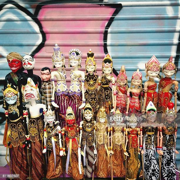 Colorful dolls in traditional clothes