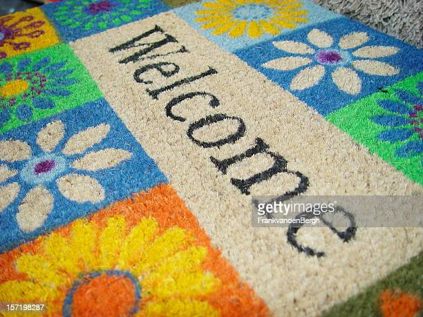 Colorful doormat with a welcome sign