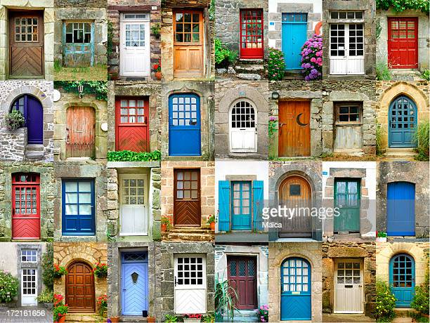 Colorful doors in French region of Brittany