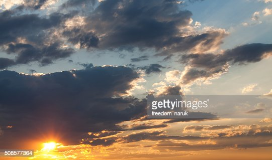 colorful dramatic sky with cloud at sunset : Bildbanksbilder