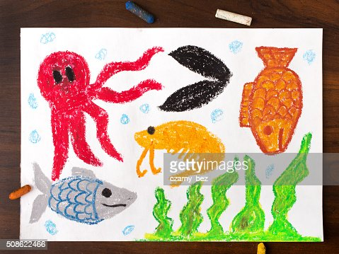 colorful drawing: miscellaneous types of creatures of the sea : Stock Photo
