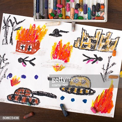 colorful drawing: tanks attack : Stock Photo