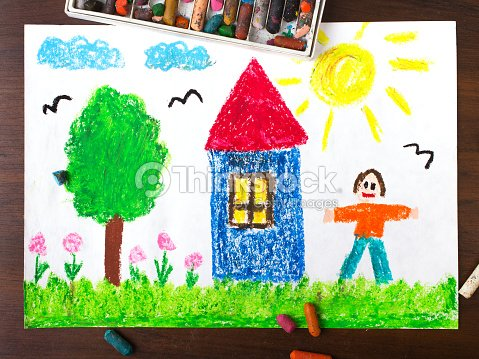colorful drawings country house and happy men stock photo thinkstock