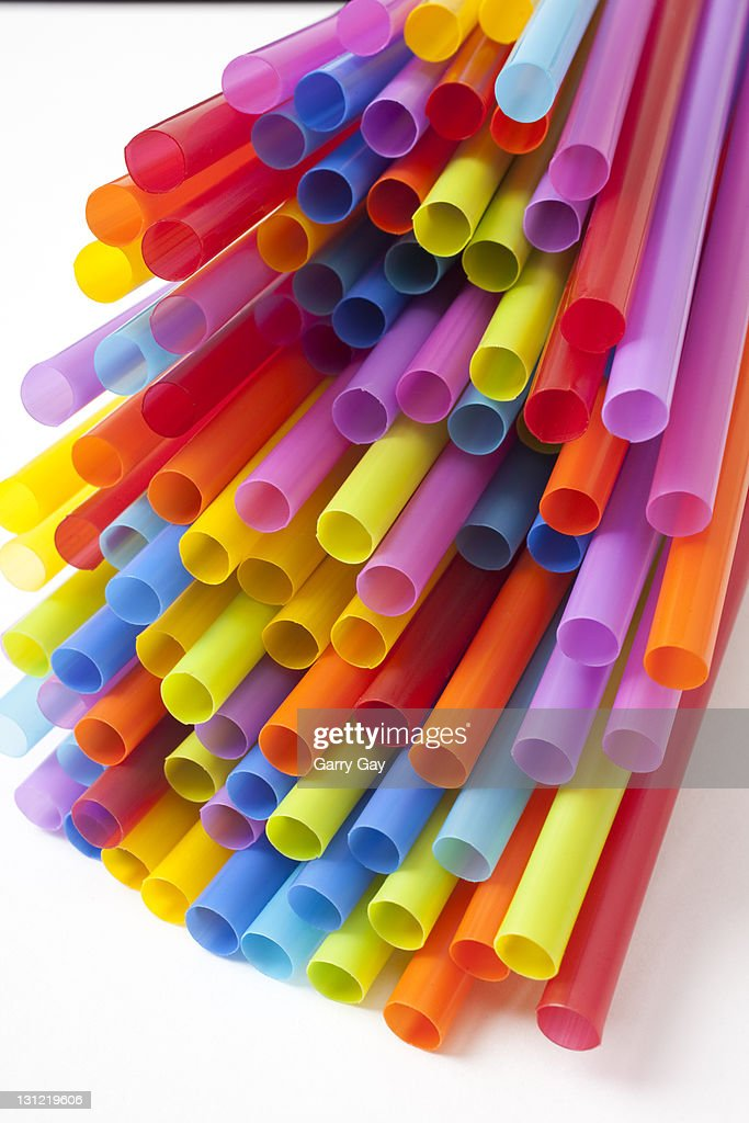 Colorful drinking straws : Stock Photo