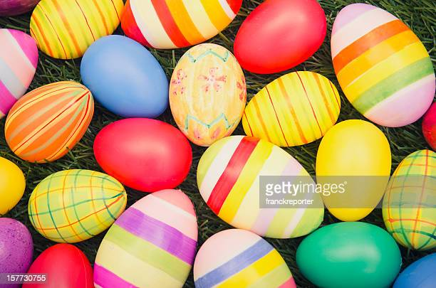 Colorful easter egg on grass