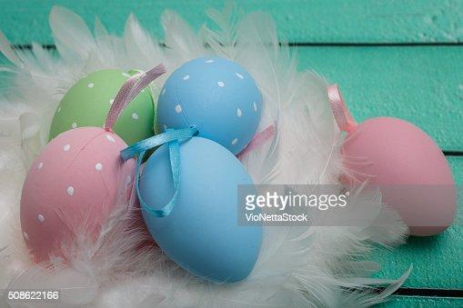 Colorful easter eggs, closeup shot : Stock Photo