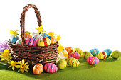 colorful easter eggs and narcissus in easter nest on grass