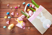 Colorful easter eggs and chocolate bunny for a happy easter