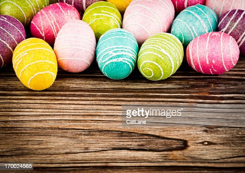 Colorful Easter Eggs with Copy Space