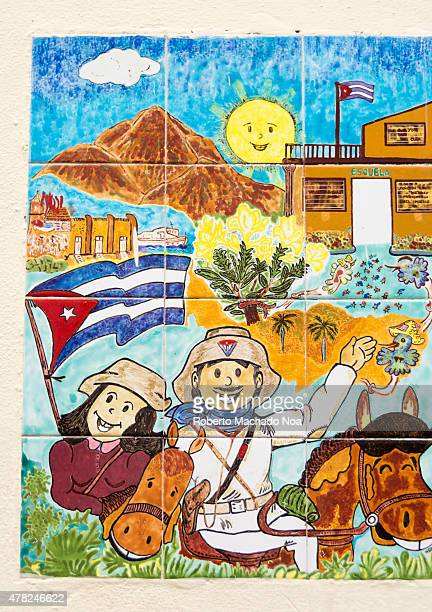 Colorful Elpidio Valdes a Cuban cartoon character with big smiles tiles in Old Havana