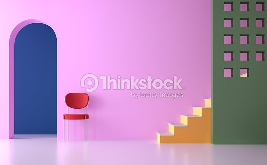 Colorful empty room 3d render : Stock Photo