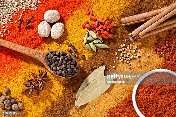 Colorful exotic spices composition shot directly above