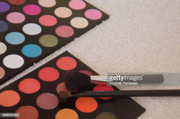 Colorful eyeshadow palette and make-up brushes