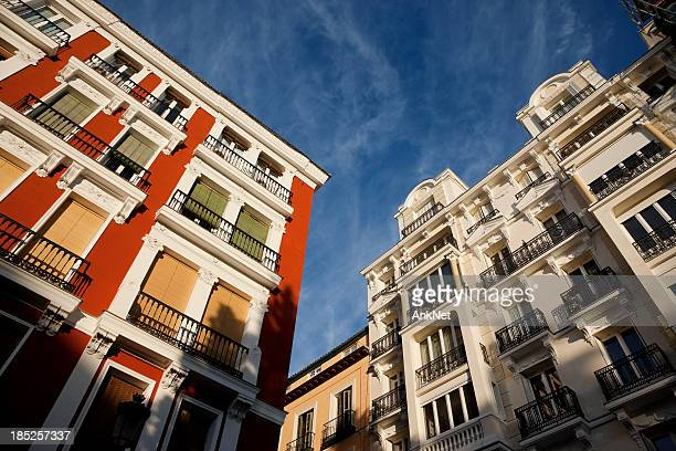 Colorful facades of buildings in Madrid