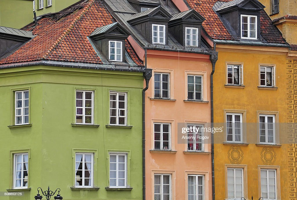 Colorful facades of Warsaw : Stock Photo