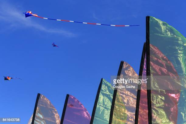 Colorful Feather Flags and Feather Banners at the kite festival