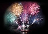 Colorful firework display for celebration