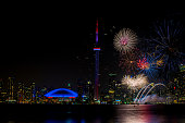 colorful fireworks with CN Tower at night