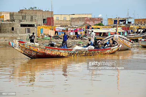 Colorful fishing boats on the Senegal river