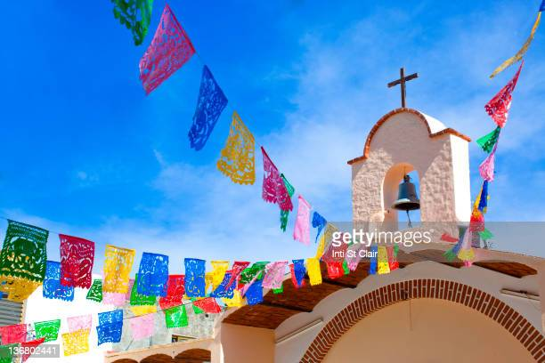 Colorful flags decorating church