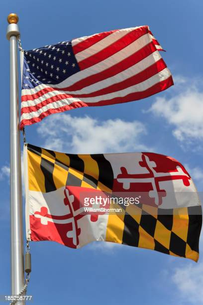 Colorful Flags of Maryland and the United States