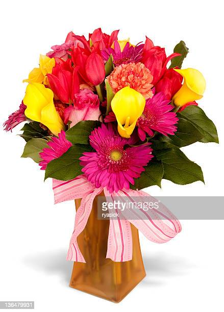 Colorful Floral Arrangement with Pink Striped Bow and Frosted Vase