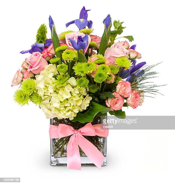 Colorful Floral Bouquet in Glass Vase with Pink Ribbon Isolated