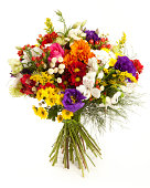 'Colorful flower bouquet. Chrysanthemum, Spider Chrysanthemun, Anemone, Lisianthus, Rose, Alstroemeria and Goldenrod. Isolated on white. Front view.'