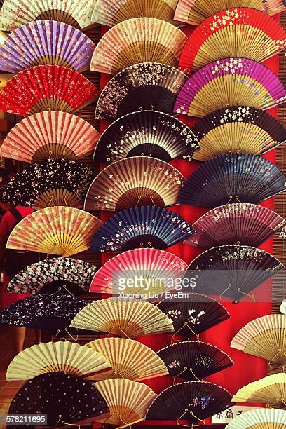 Colorful Folding Fans At Market Stall