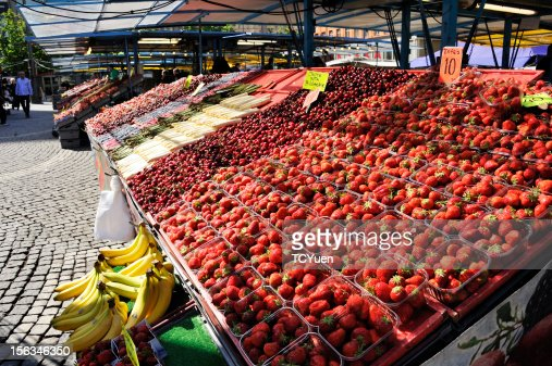 Colorful Fruit Stalls in Stockholm : Stock Photo