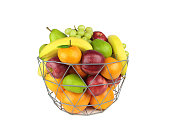 Colorful fruits in a metal basket isolated on white background