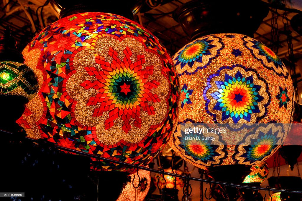 colorful glowing glass lanterns stock photo