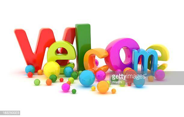 Colorful graphic of the word Welcome with spherical details