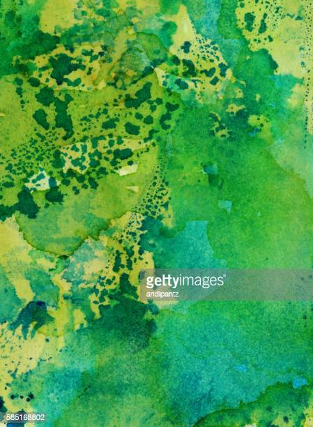 Colorful green background with splatters and brush strokes