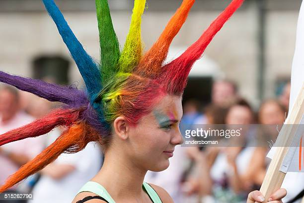 colorful hair pride parade stockholm sweden