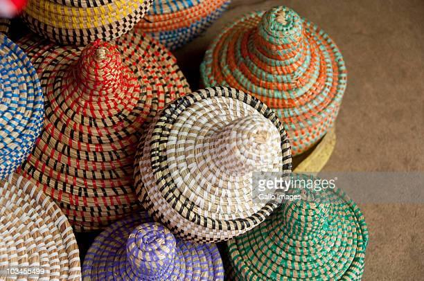Colorful hand made baskets at Albert Market and Banjul Craft Market, Banjul, Gambia