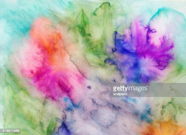 Colorful hand painted background with a variety of bright colors